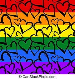 gefärbt, gay, regenbogen, seamless, herzen, pattern., stolz