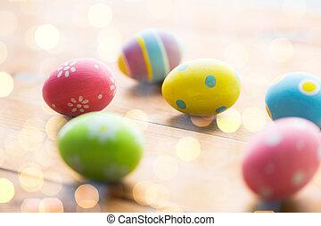 gefärbt, hölzern, Eier, Auf, Oberfläche, schließen, Ostern