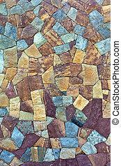 gefärbt, muster, von, altes , steinmauer, aufgetaucht