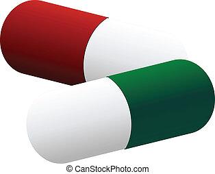 gefärbt, pillen, zwei