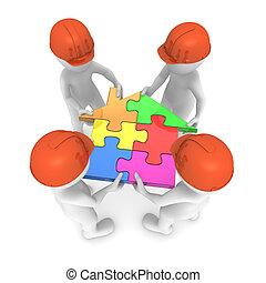 gefärbt, puzzel, house., 4, klein, halten, erbauer, leute., 3d