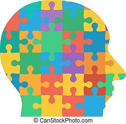 gefärbt, puzzel, stichsaege, hintergrund., menschlicher kopf