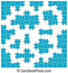 gefärbt, puzzel, -, zubehörteil, stücke, individuum, ecke