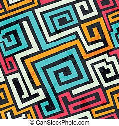 gefärbt, quadrat, spiralförmiges muster, mit, grunge, effekt