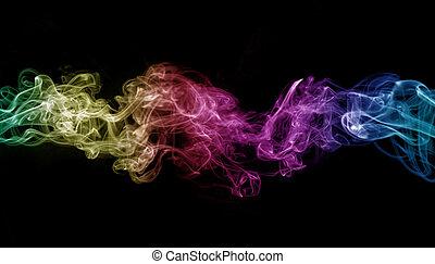 gefärbt, rauchwolken