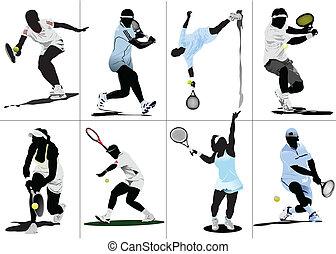 gefärbt, tennis, player., abbildung, vektor, entwerfer