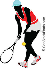 gefärbt, vektor, illu, player., tennis