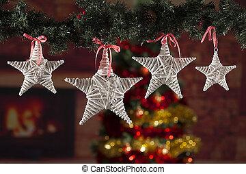 gefärbt, weihnachtsdeko, mit, a, fokus, hintergrund