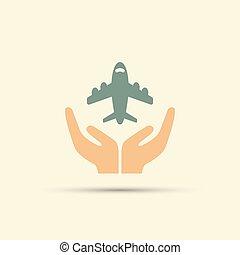 gefärbt, zwei, freigestellt, vektor, halten hände, motorflugzeug, rgeöffnete, ikone