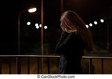 gefühl, depressionen, auf, a, brücke