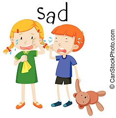 gefühl, kind, zwei, traurige