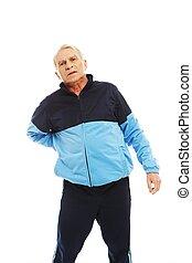 gefühl, klage, mann, schmerz, älter, seine, zurück, training