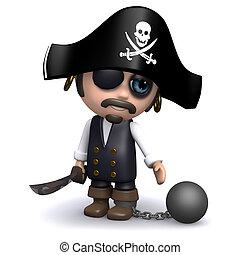 gefangen, erhält, pirat, 3d