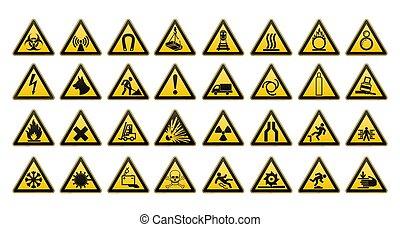 gefarenschilder, groß, set., sicherheit, in, workplace., gelbes dreieck, mit, schwarz, image., vektor, illustration.