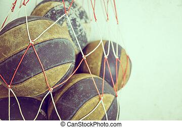 gefiltreerd, (, beeld, volleybal, verwerkt, effect., oud...