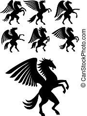 geflügelt, aufbäumen, pegasus, schwarz, pferden