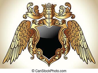geflügelt, emblem, gold
