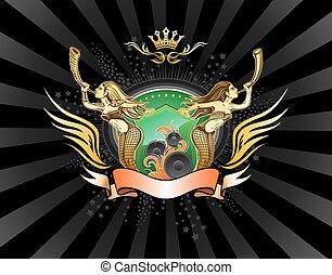 geflügelt, emblem, mit, zwei, lang-haare, mädels, besitz, der, schutzschirm