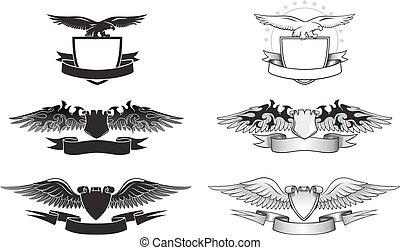 geflügelt, emblem, satz, mit, adler, flügeln, und, schilder