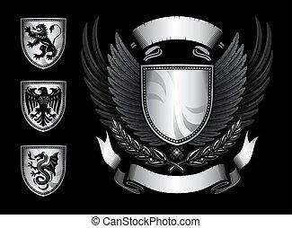 geflügelt, emblem, schutzschirm