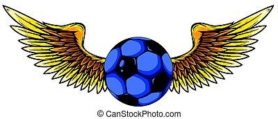 geflügelt, grunge, kugel, vektor, fußball, bild