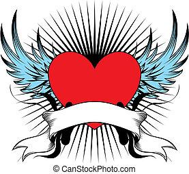 geflügelt, herz, emblem