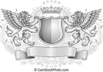 geflügelt, loewen, emblem, schutzschirm, besitz