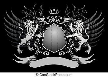 geflügelt, loewen, krone, schutzschirm, insig
