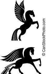 geflügelt, pferden, schwarz, zwei