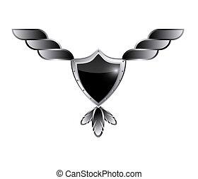 geflügelt, schutzschirm, banner, schwarz, glänzend