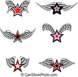 geflügelt, stern, set1