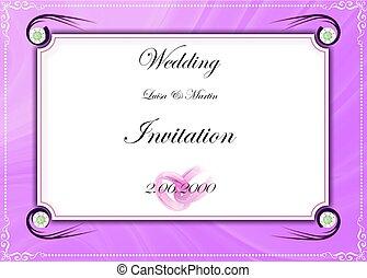 card., wedding, vektor, abbildung, einladung