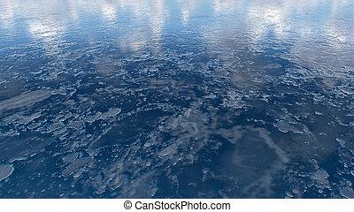 gefrorenes, auf, beschaffenheit, wasserspiegel, schließen