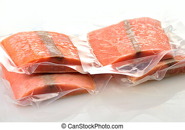 gefrorenes, lachs, filets