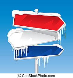 gefrorenes, wegweiser, (vector)