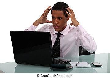 gefrustreerde, jonge, zakenman, wezen, driven, gek, door,...