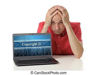gefrustreerde, man, met, laptop., auteursrecht, concept
