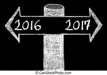 gegenüber, pfeile, mit, jahr, 2016, gegen, jahr, 2017