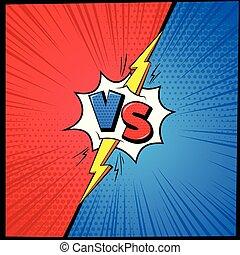 gegen, briefe, herausforderung, vs, konkurrenz, karikatur,...