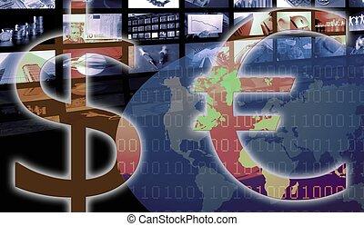 gegen, geschaeftswelt, dollar, currency., korporativ, euro