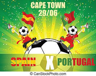 gegen, spiel, fußball, spanien, portugal