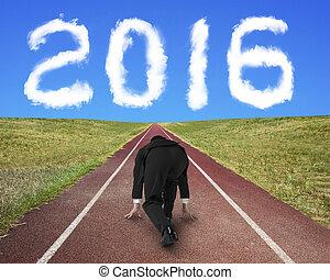 gegen, spur, rennender , rennen, bereit, geschäftsmann, 2016, wolke