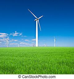 gegen, wind, blauer himmel, -, macht, turbine, station