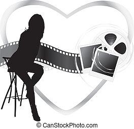 gegenstände, silhouette, weibliche , film