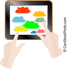 gegevensverwerking, concept., aandoenlijk, vinger, aanraakscherm, wolk