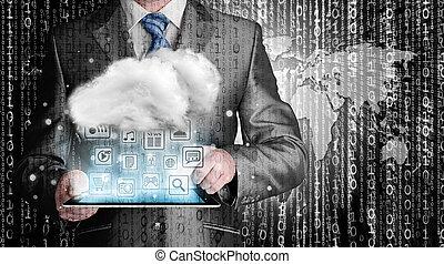 gegevensverwerking, concept, technologie, wolk, connectivity