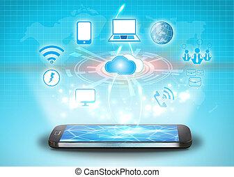 gegevensverwerking, concept, technologie, wolk