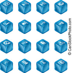 gegevensverwerking, iconen, netwerk, set., kubus, reeks