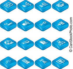 gegevensverwerking, iconen, netwerk, set., reeks
