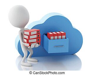gegevensverwerking, mensen, opslag, bestand, cloud., witte...